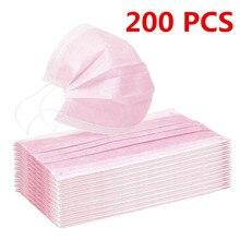 10/200pc máscara facial descartável industrial 3ply orelha loop capa boca reutilizável moda tecido máscaras rosto capa rosa mascarilla