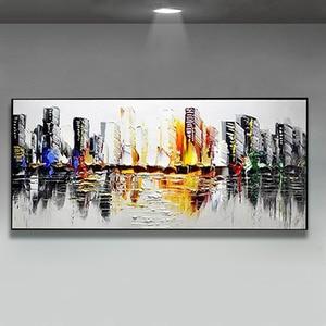 Image 2 - Decoración de la boda pintado a mano pintura al óleo sobre lienzo moderno de gran tamaño Arte Abstracto Decoración de casa colgar de la ciudad lluviosa construir