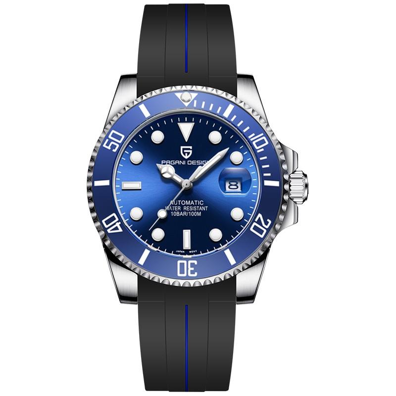 PAGANI DESIGN Brand Luxury Men Watches Automatic Blue Watch Men Silicone Waterproof Business Sport Mechanical Wristwatch PD-1639