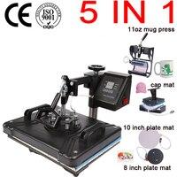 Máquina térmica da imprensa do calor do t t da combinação da impressora da sublimação para placas/tampão/caneca/telefone exibição dobro da fábrica 30*38 cm 5 em 1|Impressoras| |  -