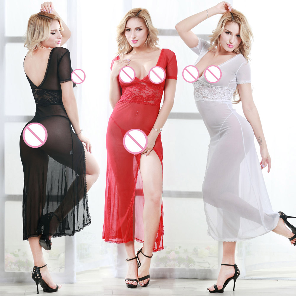 Hot Sale Women's Sexy Long Dress Charming Nightgown Lingerie White Sleepwear S M L XL XXL Black White Red Lady's Sexy Nighdress