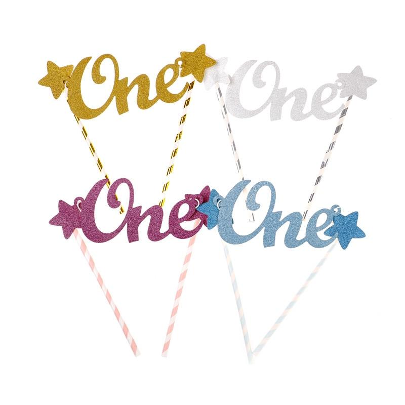 4 kolory kreatywne dziecko 1st tort urodzinowy Topper jedna litera gwiazdy ciasto wykaszarki słomki Baby Shower Smash Cake dekoracje