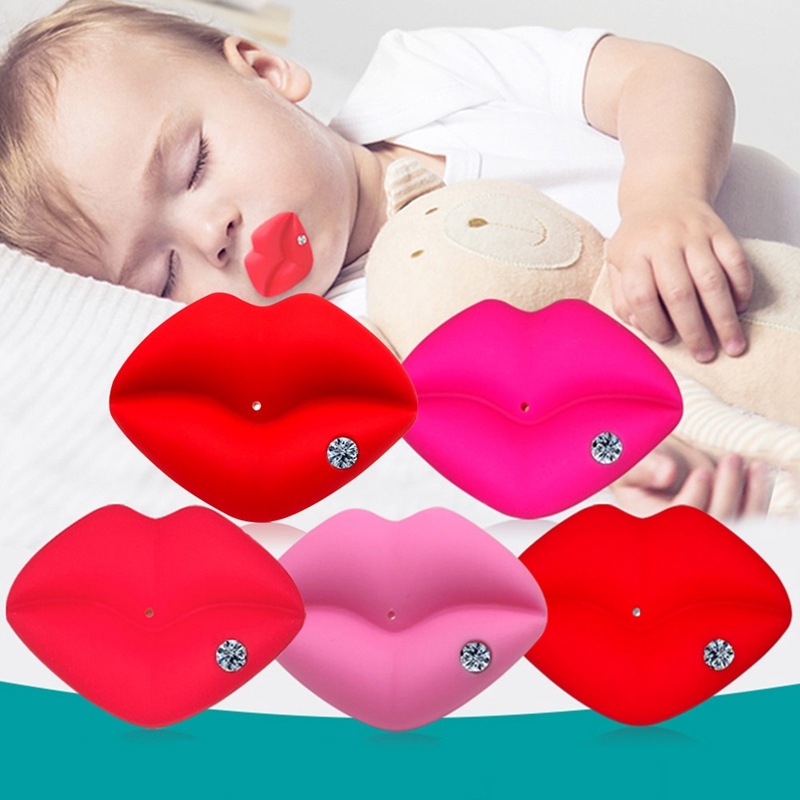 Baby Pacifier Rhinestone Red Kiss Lips Dummy Pacifiers Funny Silicone Baby Nipples Teether Soothers Pacifier Baby Dental Care