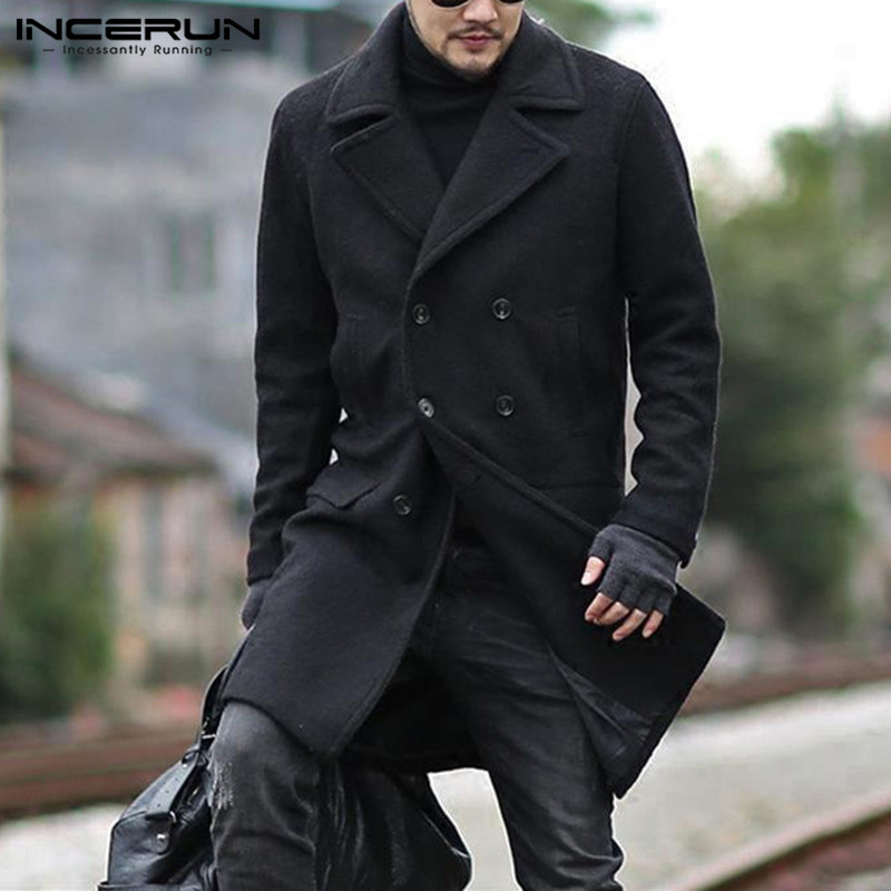 INCERUN Winter Fashion Men Coats Faux Wool Blends Long Sleeve Streetwear Solid Chic Jackets Men Lapel Double Breasted Overcoats