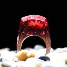 KCALOE anillo de resina de flores naturales de montaña de Epoxy para mujer joyería de madera Vintage