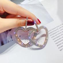 Korean Heart Earrings Rhinestone Square Geometric Dangle Earrings For Women 2019 Fashion Jewelry Accessories Fine Gifts цена