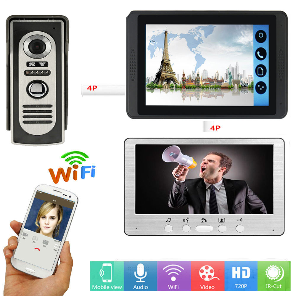Video Door Intercom 7 Inch Monitor Wifi Wireless Video Door Phone Doorbell Visual  APP Remote Unlock Intercom Doorbell System