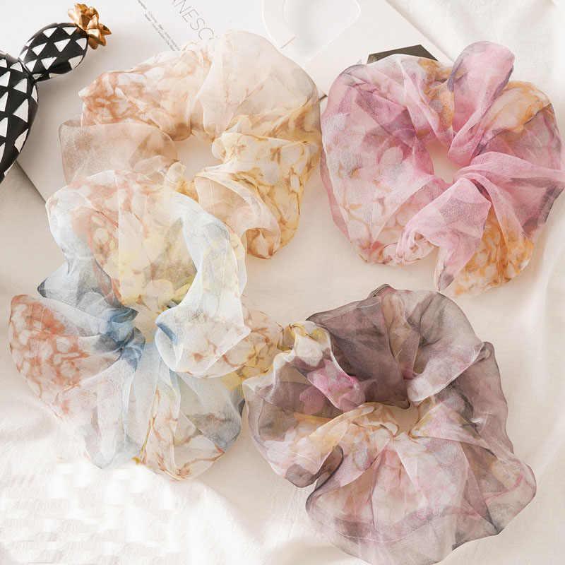 1Pc Dunne Organza Sheer Oversized Haar Ring Paardenstaart Elastische Hair Ties Touwen Koreaanse Zoete Elegante Vrouwen Meisjes Haar Accessoires
