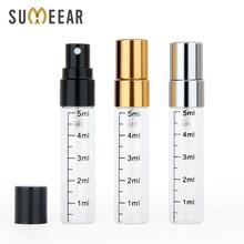 50 unids/lote 5ml frasco de perfume vacío atomizador en aluminio Spray portátil, para cosméticos, para viajes botellas de báscula de contenedores