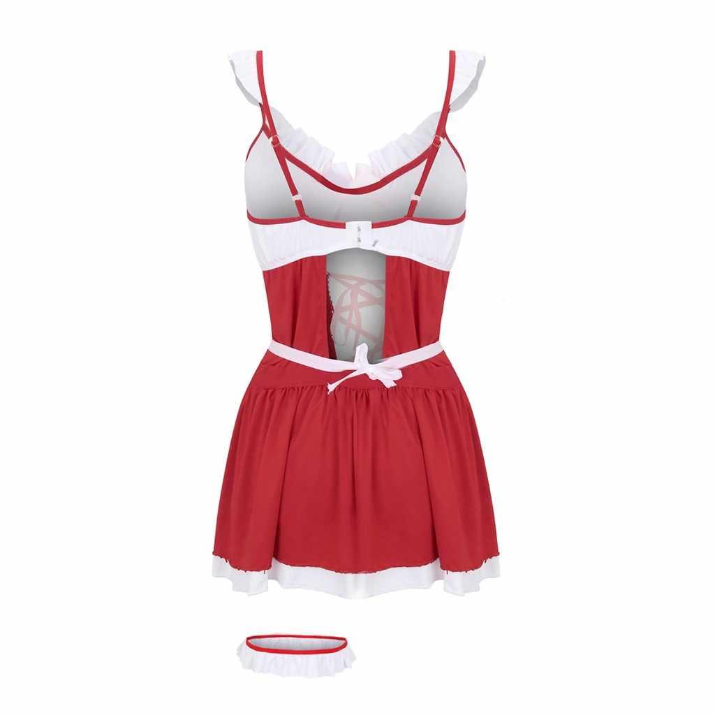 Sexy lingerie feminina erótica cosplay trajes sem costas sexo roupa interior plus size babydoll lenceria maid porn roleplay uniforme vestido