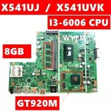 X541UJ i3-6006 CPU GT920M 2GB Onboard 8GB RAM DDR4L For ASUS X541UJ X541UVK