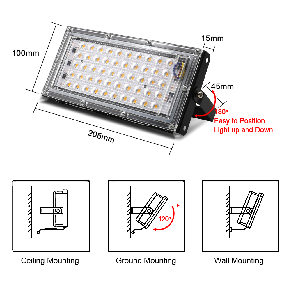 LED Flood Light 50W AC 220V 240V Outdoor Lighting Waterproof IP65 Floodlight LED Spotlight Big Power Fixture Reflector 2