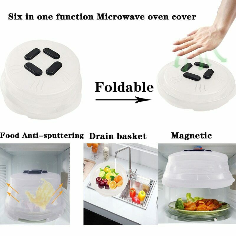 Microwave Oven Folding Hover Cover Magnetic Multifunction Microwave Plate Cover J2Y in Kitchen Gadget Sets from Home Garden