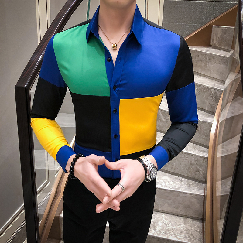 Camisa De Botao Designer Men Shirt Slim Fit Long Sleeve Shirts Fashion Night Club Party Streetwear Social Shirt Chemise Homme
