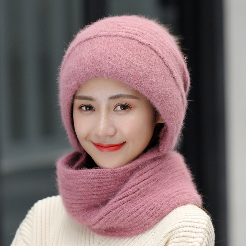 New Winter Women   Skullies   Hats Combined with Scarf Lady Pure Color Knitted   Beanie   Hat Female Warm Outdoor Rabbit Fur Bonnet Caps