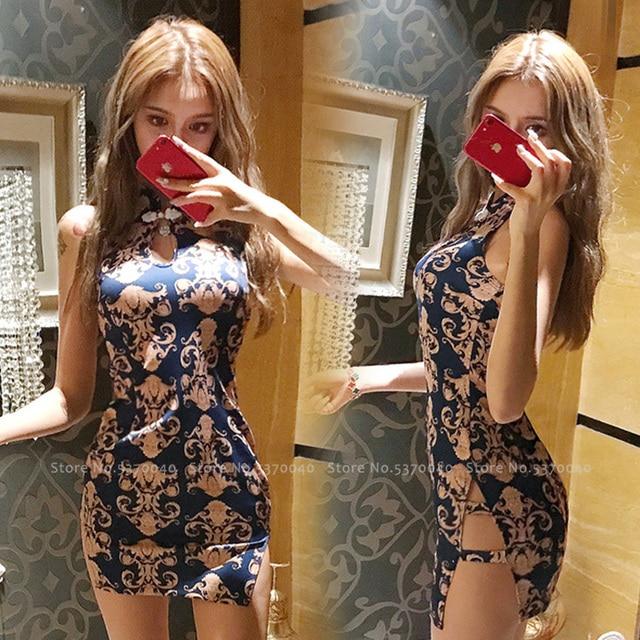 Vrouwen Strakke Chinese Stijl Cheongsam Qipao Formele Kleding Lady Nachtclub Sexy Bandage Party Split Bandage Jurken Coaplay Kostuums 2