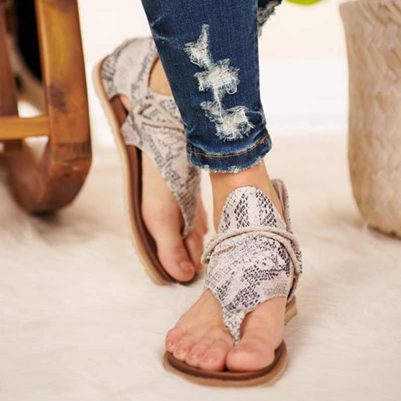 SHUJIN kadın yaz sandalet flats ayakkabı kadın PU deri zapatos de mujer casual bayanlar leopar baskı ayakkabı bohemia sandalias