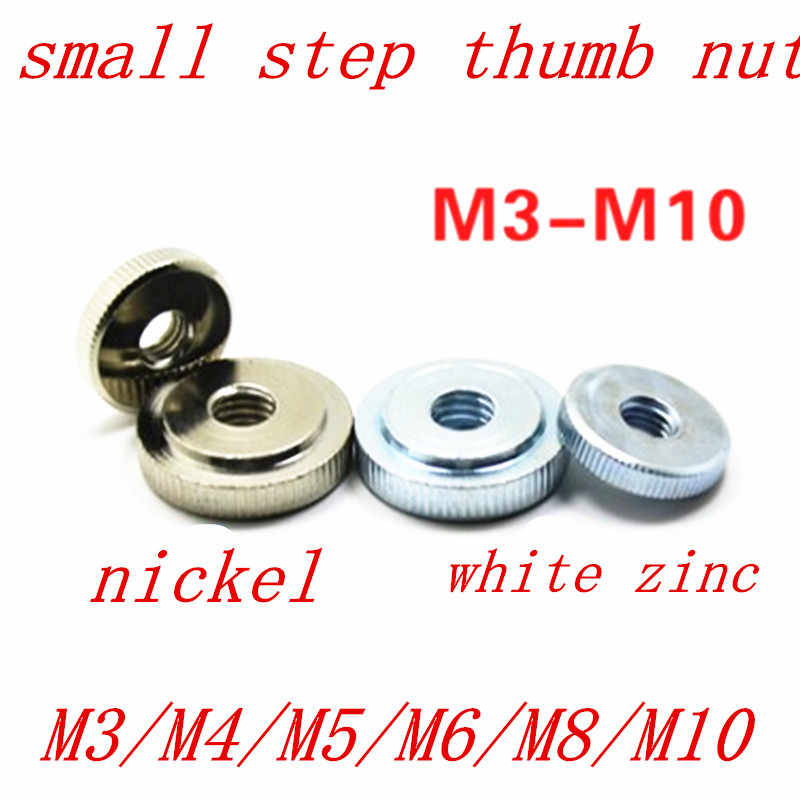 2-10pcs M3 M4 M5 M6 M8 M10 Din467 Gb807 nickel/ white zinc plated Knurled small  step Thumb Nut Iinstrument Hand Tighten Nut