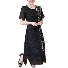L 5XL Big Size Office Lady Casual Party Loose V neck Short Sleeve Plus Size Summer Black Elegant Woman Cocktail dresses