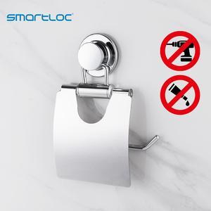 Image 1 - Smartloc étagère murale avec ventouses en acier inoxydable, support mural pour les toilettes, étagère de rangement des mouchoirs, accessoires de salle de bain
