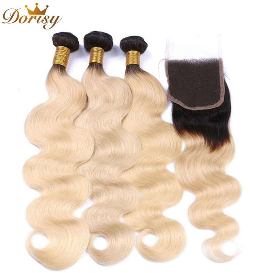 TB/Blonde <font><b>Peruvian</b></font> <font><b>Body</b></font> <font><b>Wave</b></font> Remy Human Hair 3 <font><b>Bundles</b></font> <font><b>with</b></font> Lace <font><b>Closure</b></font> Blonde <font><b>Ombre</b></font> <font><b>Bundles</b></font> <font><b>with</b></font> <font><b>Closure</b></font> image