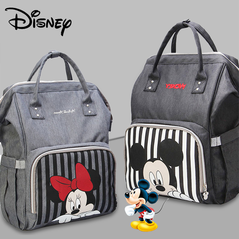 Disney Classic Mickey Minnine Series Baby Diaper Bag Backpack With USB Mummy Bag For Travel Large Capacity Maternity Nappy Bags