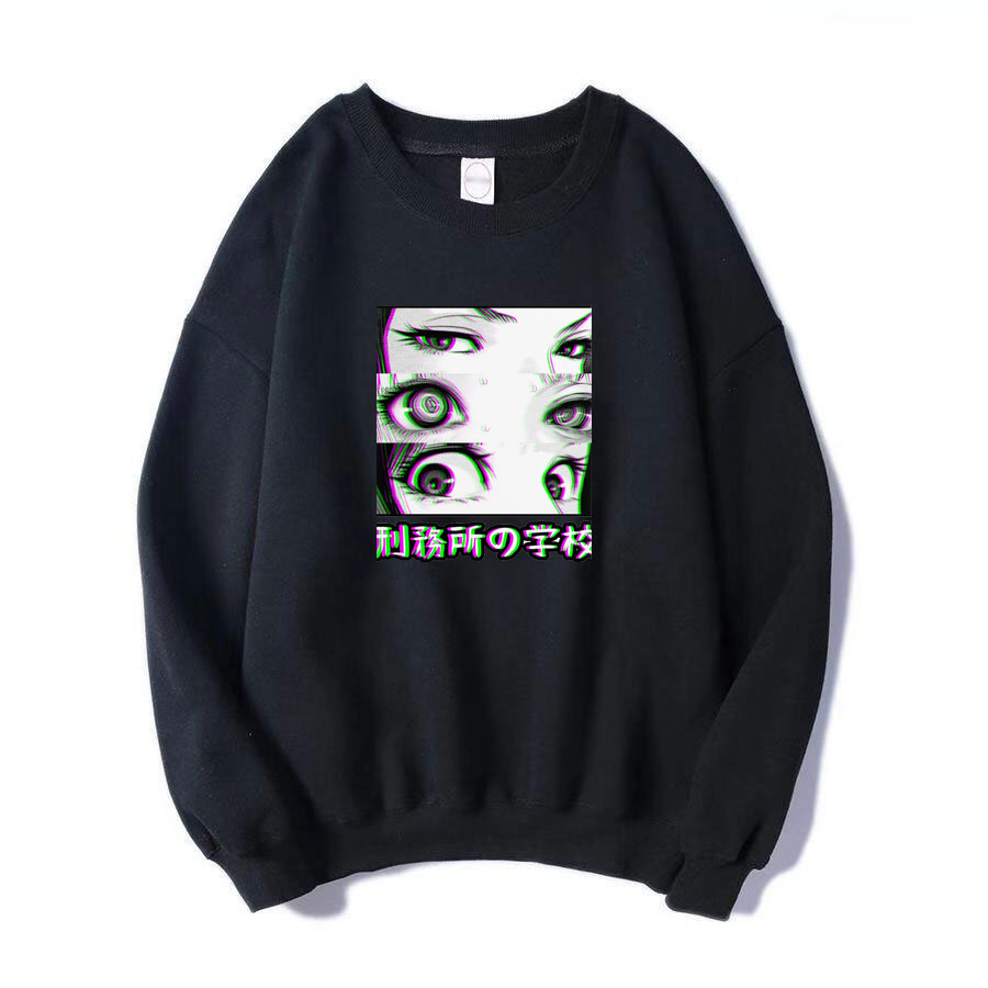 Japan Anime Prison School Eyes Sad Men Sweatshirt Hip Hop Fashoin Hoodies 2019 Spring Winter Hot Sale Casual Loose Fit  Pullover