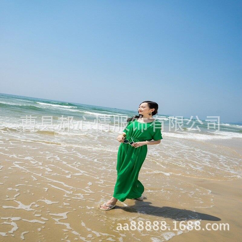 Beach Beach Skirt Tourism Households Chiffon Dress Green Large Size Dress