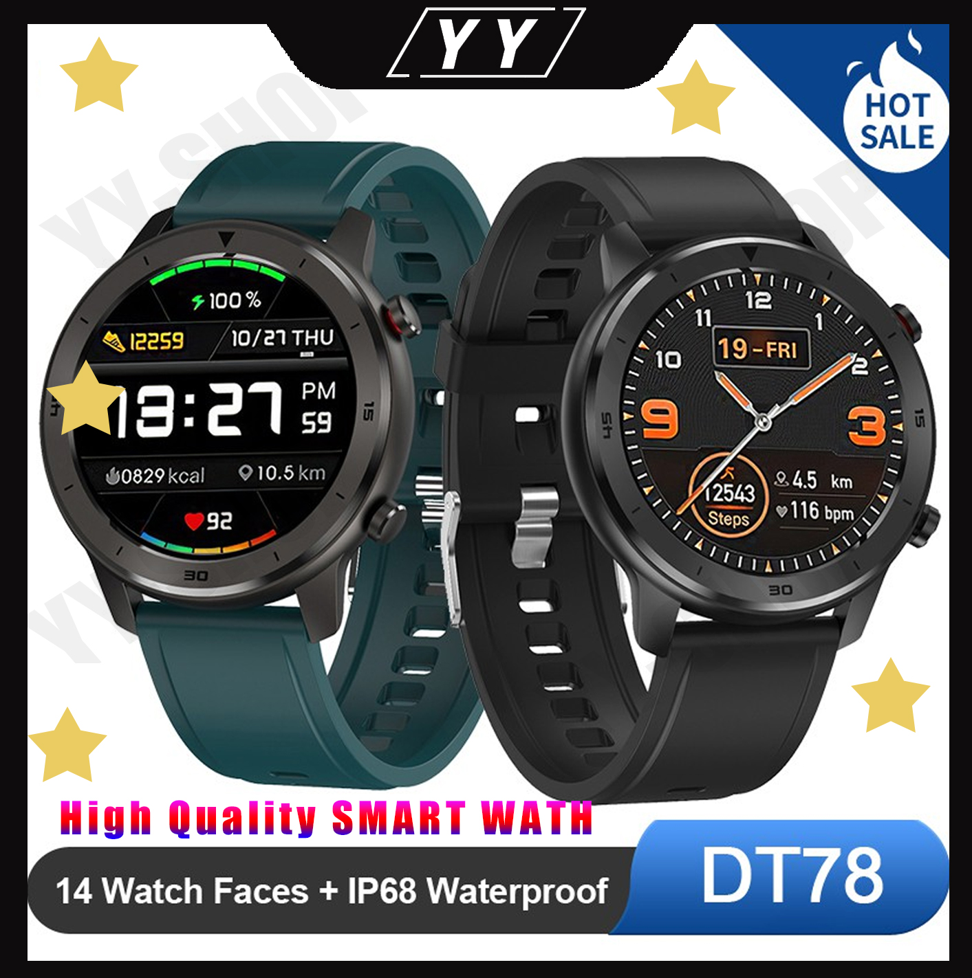 YY <font><b>SmartWatch</b></font> <font><b>NO</b></font>.<font><b>1</b></font> DT78 Smart Watch IP68 Waterproof Heart rate Running call reminder <font><b>dt</b></font> 78 blood pressure bluetooth women image