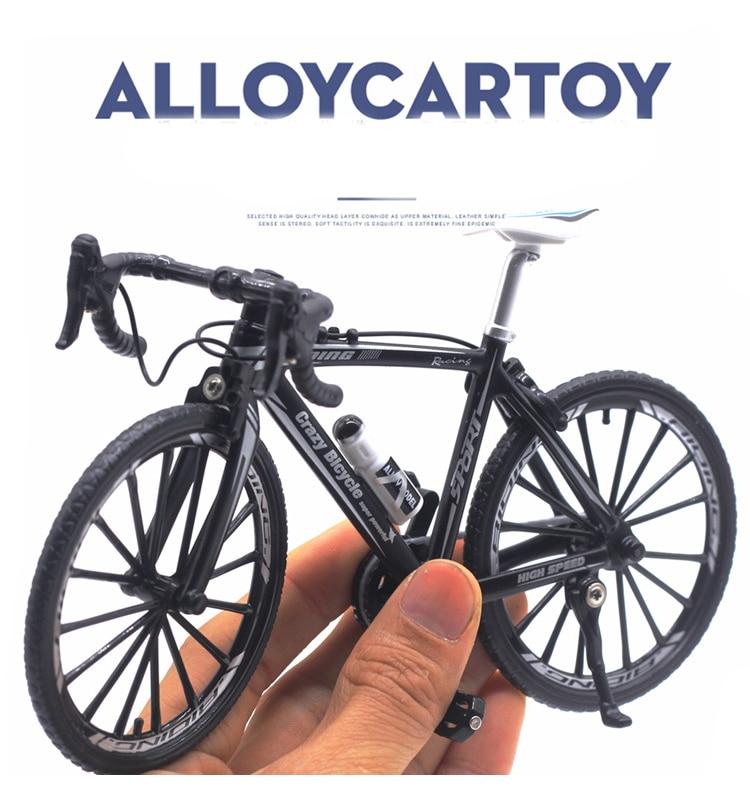 Mini 110 liga modelo de bicicleta diecast metal dedo mountain bike corrida brinquedo curva estrada simulação coleção brinquedos para crianças