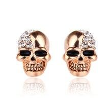 2019 Vintage Women Men Punk Skull Jewelry Silver Gold Stud Earrings Skeleton Couple Earrings Unisex Ear Studs full body skeleton earrings 24k pure gold skull skeleton men and women gold earrings earrings