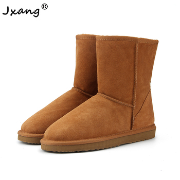 JXANG High Quality Genuine Leather  Australia Classic Fur snow boots Women Boots Warm winter shoes for women boots large size habuck women australia classic style snow boots winter warm genuine leather warterproof high quality ankle boots large size