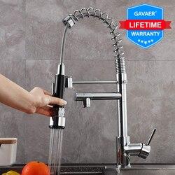 Gavaer кухонный кран с выдвижным соплом, двойной режим, смеситель для воды, с одной ручкой, для горячей и холодной воды, 2 выхода, для душа, 360 Пово...