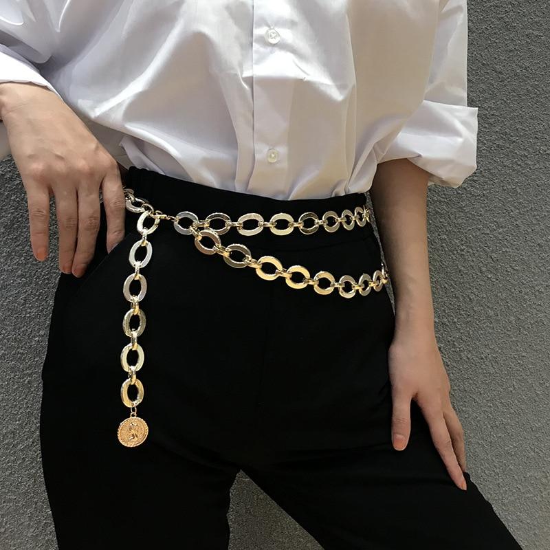 Women Retro Luxury Waist Chain Gold Coin Jewelry Metal Chain Belt Ladies Designer Dress Accessories Chains Strap Ceinture Femme