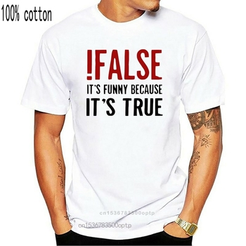 False It's Funny Because It's True T-Shirt Programmer Quote Printed T Shirt Funny Java The IT Crowd Geek Nerd Tee Shirts image