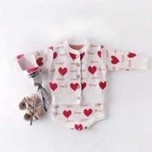 Одежда для маленьких девочек; комбинезон для новорожденных девочек; вязаная одежда для малышей; комбинезон для девочек; хлопковый Детский свитер; комплект с жилетом
