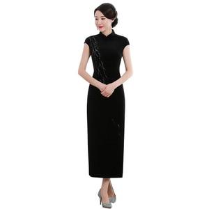 Image 5 - 2019 Vestido De Debutante New High Fashion Sleeveless Walk Show Velvet Cheongsam Long Retro Improved Fit Factory Direct Dress