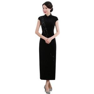 Image 5 - 2019 Vestido De Debutante موضة جديدة عالية بلا أكمام المشي تظهر المخملية شيونغسام طويلة الرجعية تحسين تناسب فستان المصنع مباشرة