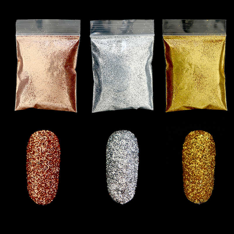 10g Gold Silver Shiny Nail Glitter Powder Flakes Dust Sparkly 0.2mm Sequins Chrome Pigment Polish Manicure Nail Art Decorations