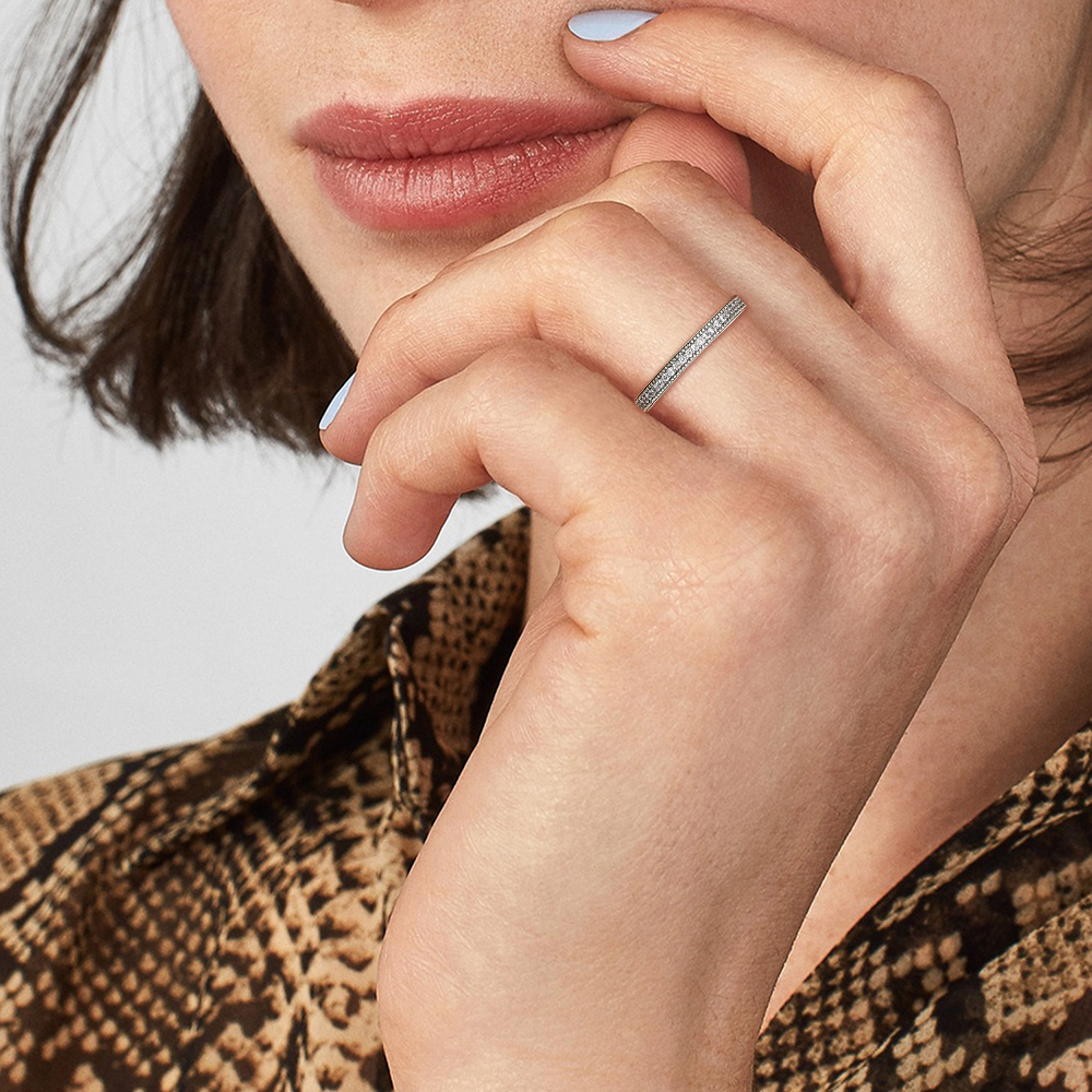 SILVERHOO coeurs anneaux femmes authentique 925 en argent Sterling clair CZ empilable Vintage luxe bague de fiançailles Fine bijoux cadeau 6