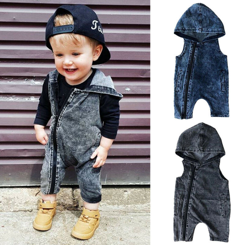 Baby Toddler Boy Girl Sleeveless Hooded Romper Bodysuit Jumpsuit Clothes Outfits