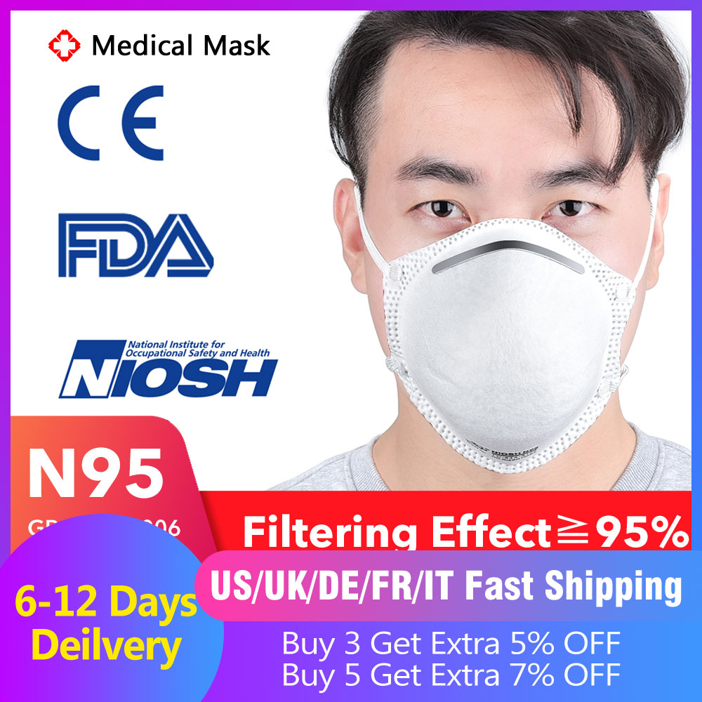 FDA NIOSH N95 Medical Masks N95 Particulate Respirator Surgical Masks Bacteria Proof 4 Layer Filter Anti-dust Mouth Nose Masks