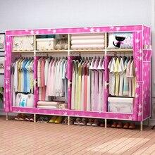 Nordic Oxford Fabric Wardrobe Closet Storage Cabinet Simple Modern Solid Wood Organizer Armario Armario Ropero Szafa Cheap