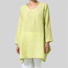 T shirts ladies Solid color wild loose long-sleeved large size cotton and linen shirt women spring autumn casual tops(China)