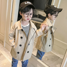 Coats Spring Trench Boys Kids Children's And Autumn Solid Clothing Turn-Down-Collar Long-Sleeve
