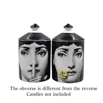 Lady Face Jar DIY Empty Candle Holder Beauty Dressing Brush Pen Box with Lid Ceramic Storage Tin Flower and Bottle 8