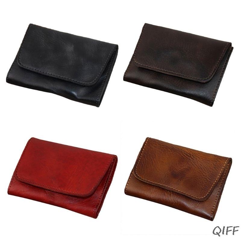 Genuine Leather Credit Card Holder Men Women Vintage Short Coin Purse Case Small Slim Wallet