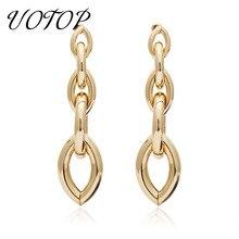 все цены на New Simple Gold Silver Color Long Tassel Dangle Earrings for Women Fashion Statement Metal Earrings Pendientes Mujer Moda 2019 онлайн