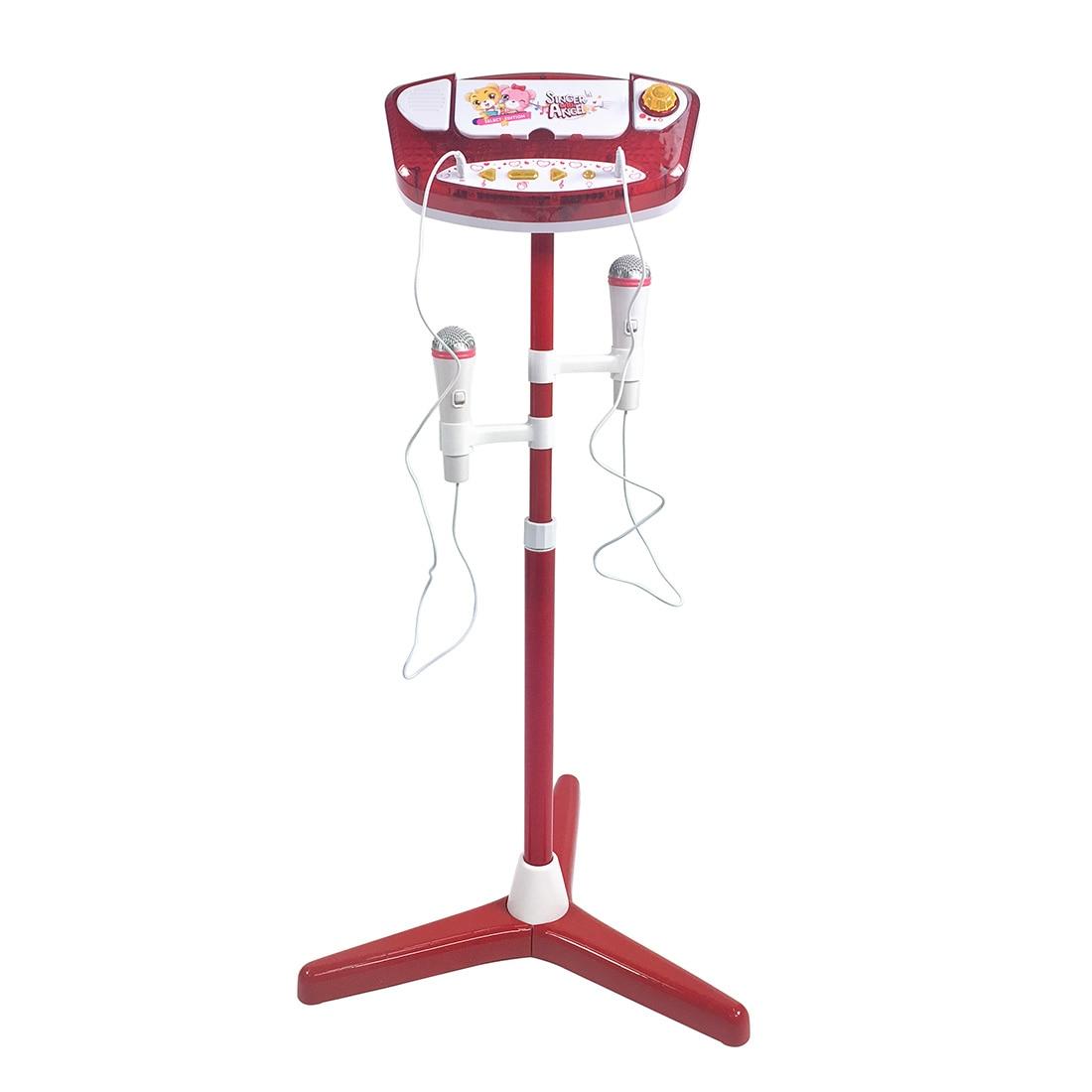 Горячая продажа Детская караоке машина с 2 микрофонами и регулируемой подставкой Музыкальный Игровой Набор обучающая игрушка подарок для детей красный