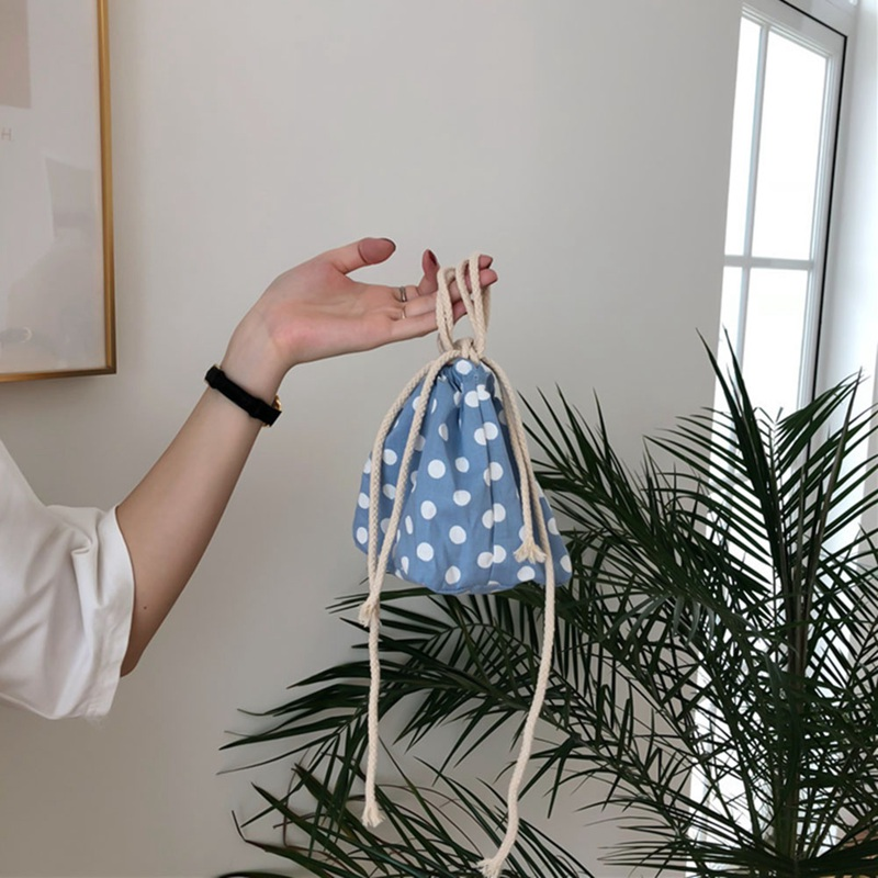 Polka Dot Drawstring Bags College Style Women Cosmetic Makeup Bags